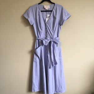 Gal Meets Glam Vanessa Linen Blend Button Up Dress